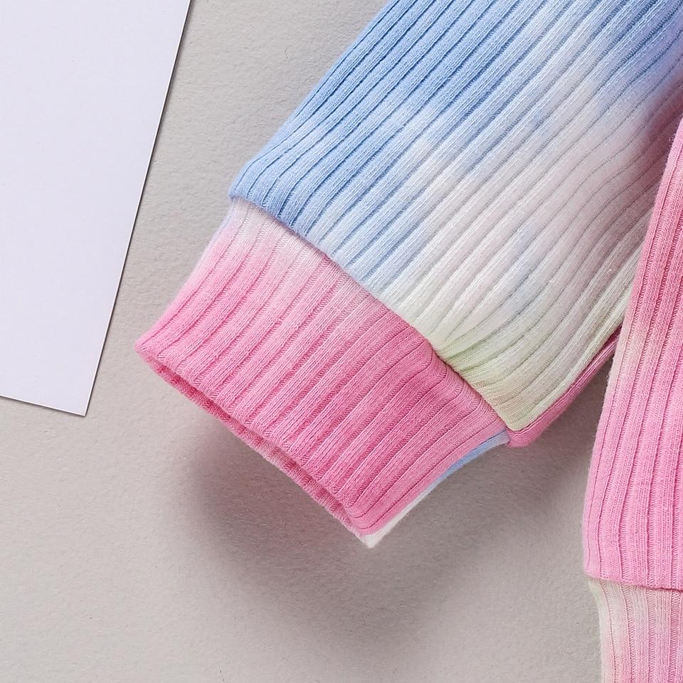2Pcs Baby Girl Tie Dye Print Long Sleeve Ruffle T-Shirt Bowknot Pants Set