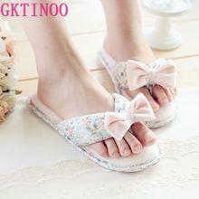 Cotton Floral Slippers Indoor Home House Flip Flops Women Shoes Spring Summer Slides