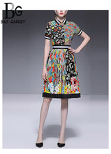 Baogarret Womens Summer Runway Vintage Skirt Suit Fashion elegant Black White Stripe Flower Print Party Female Two Piece Set