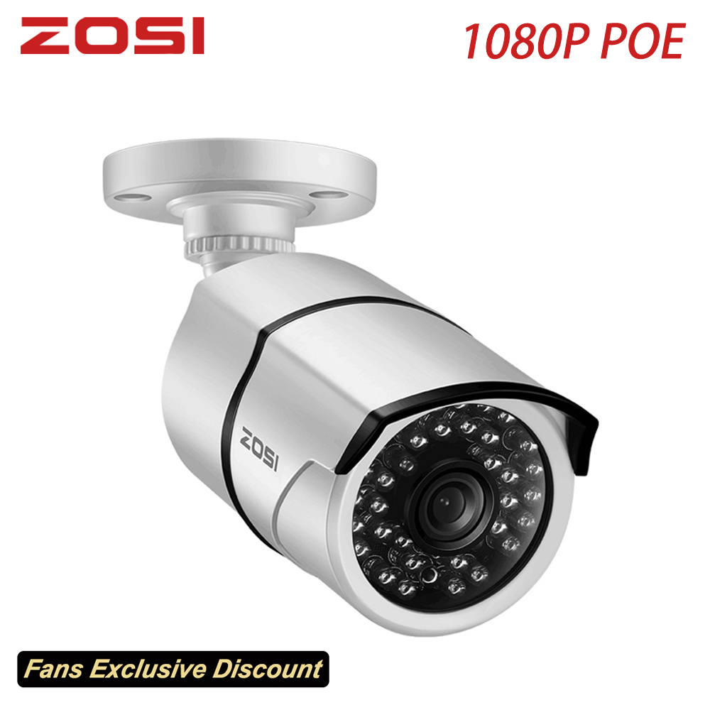 ZOSI 1080P HD POE IP Camera 2MP Bullet CCTV IP Camera for POE NVR System Waterproof Outdoor Night Vision
