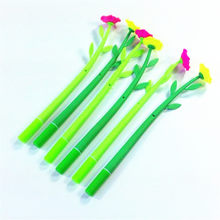 1pcs/lot Flower With Green Pole School Stationery Kawaii Creative Pens Office Writing Tool Beautiful Gel Pen(China)