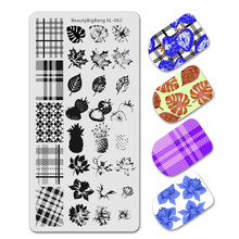 Beauty Bigbang Nagels Stempelen Template Diy Bloem Blad Aardbei Natuur Geometrie Plaid Ontwerp Nail Stempelkommen Art XL-062(China)