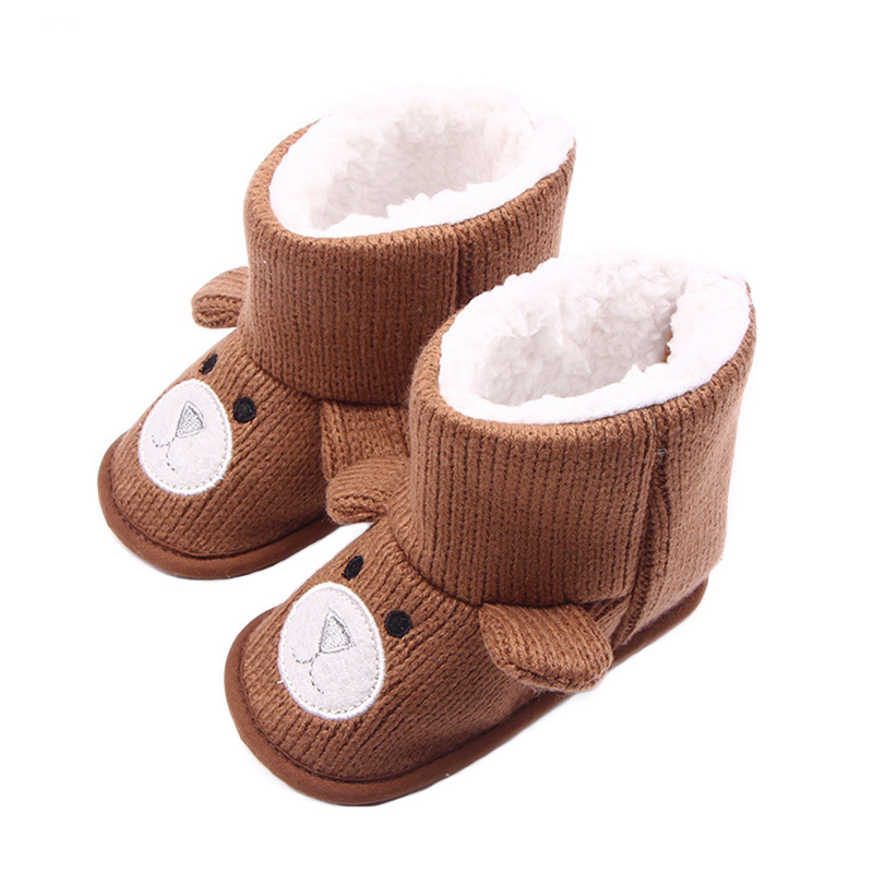 Newborn Plush Baby Shoes Cartoon Bear Soft Comfortable Bottom Baby Boots For Toddler Knitting Crochet Shoes