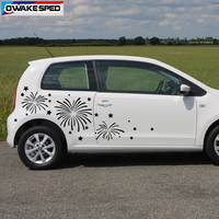 1 set Fireworks Graphics Vinyl Decal Car Body Whole Sticker Creative Styling Both Side Stickers For MINI SMART Clio MII Peugeot