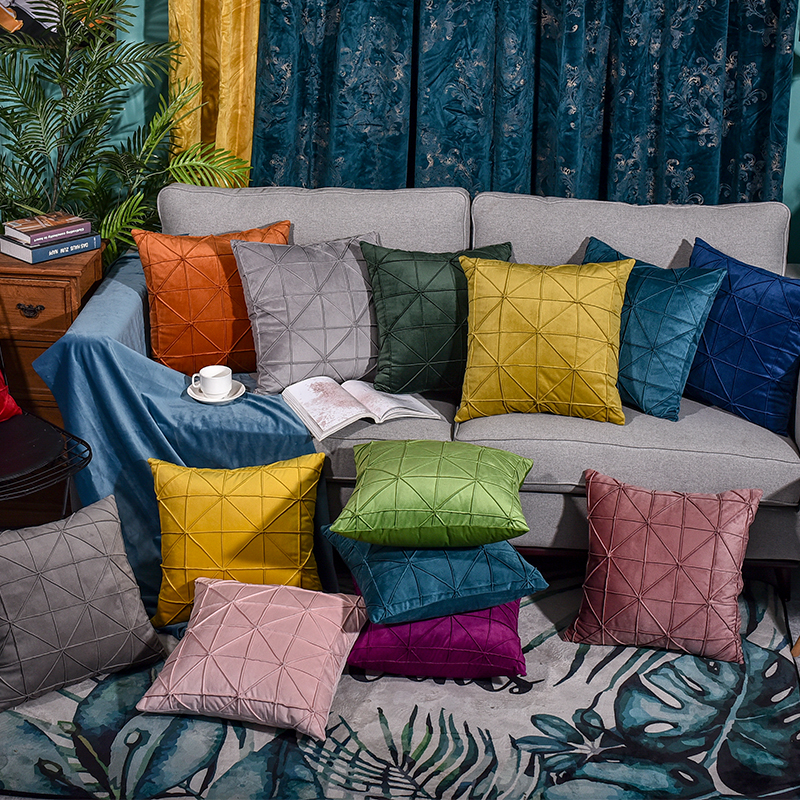 >Modern Fashion Color Candy Velvet Cushion Cover Blue Gray Yellow <font><b>Pink</b></font> <font><b>Pillow</b></font> Cover Pillowcase Home Decorative Sofa <font><b>Throw</b></font> <font><b>Pillows</b></font>