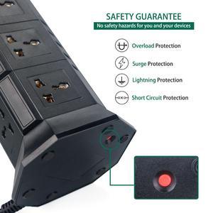 Image 2 - Usb Power Strip Verticale 8/12 Eu/Uk/Us/Au Stekker Universal Outlet Sockets Charger Surge Protector 6.6ft/2M Verlengsnoer