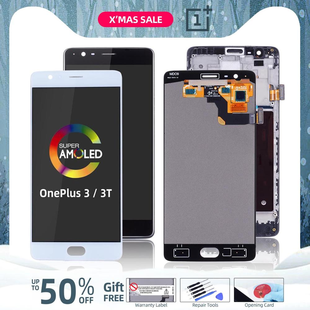 AMOLED Original Display Für <font><b>Oneplus</b></font> <font><b>3T</b></font> Display LCD Touch <font><b>Screen</b></font> mit Rahmen Ersatz Für <font><b>Oneplus</b></font> 3 Display <font><b>3T</b></font> LCD A3000 <font><b>A3003</b></font> image