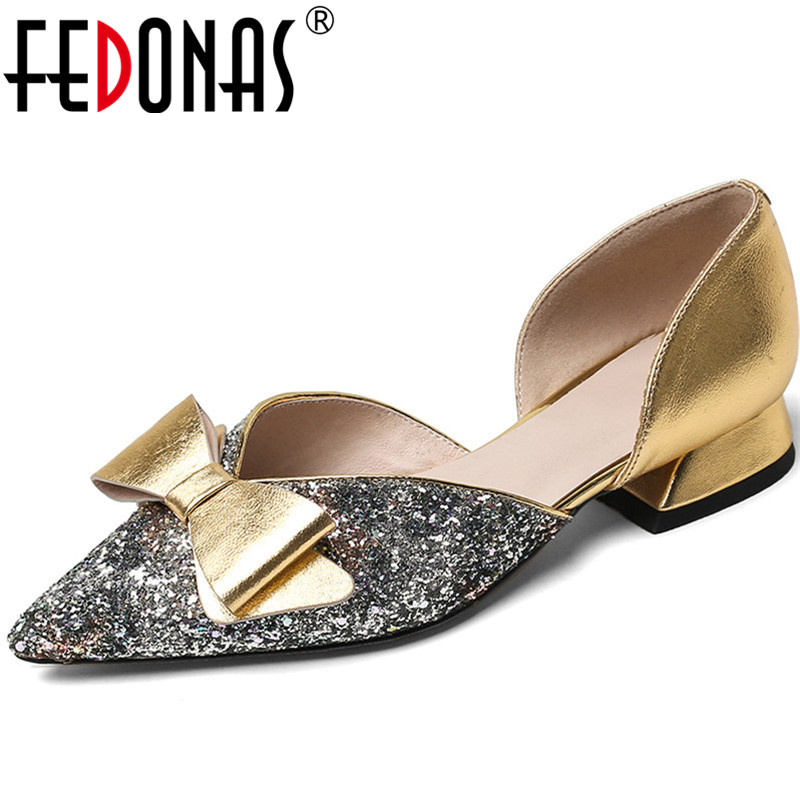 FEDONAS  Women Pumps  New Arrival Butterfly Knot Rystal Glitters Cow Leather Sweet And Well-Behaved Spring Summer Shoes Woman