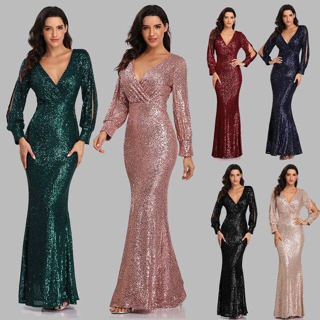 فستان سهرة جديد مثير بحورية البحر ذو رقبة على شكل V فستان رسمي طويل للحفلات الراقصة كامل الترتر طويل الأكمام 1