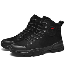 Men Male Leather Boots Snow shoes Winter Shoes Pointed Toe Mid-Calf Fashion Black Plus velvet