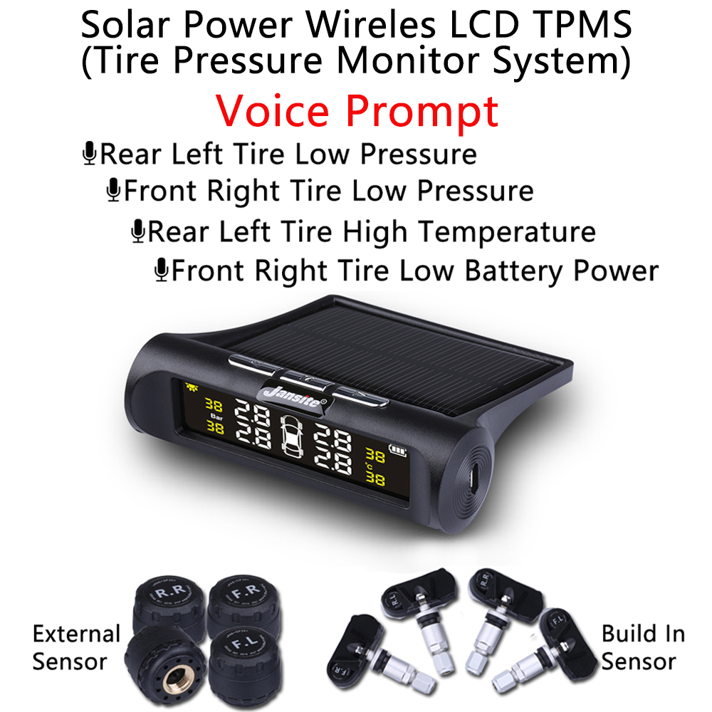 Voice Announcements LCD Tire Pressure Alarm Monitoring System Tyre Temperature Warning Digiral Smart Car TMPS USB & Solar Power