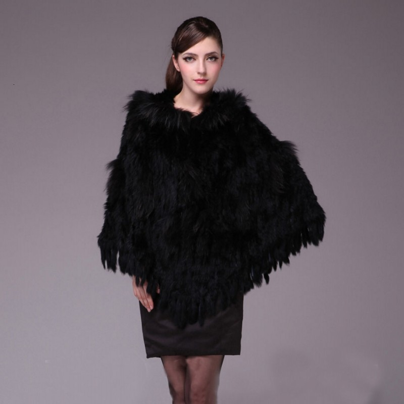 2020 New Women's Fur Wrap Winter Warm Ladies Knitted Natural Rabbit And Raccoon Fur Shawl With Hooded Clothes Fashion Luxury