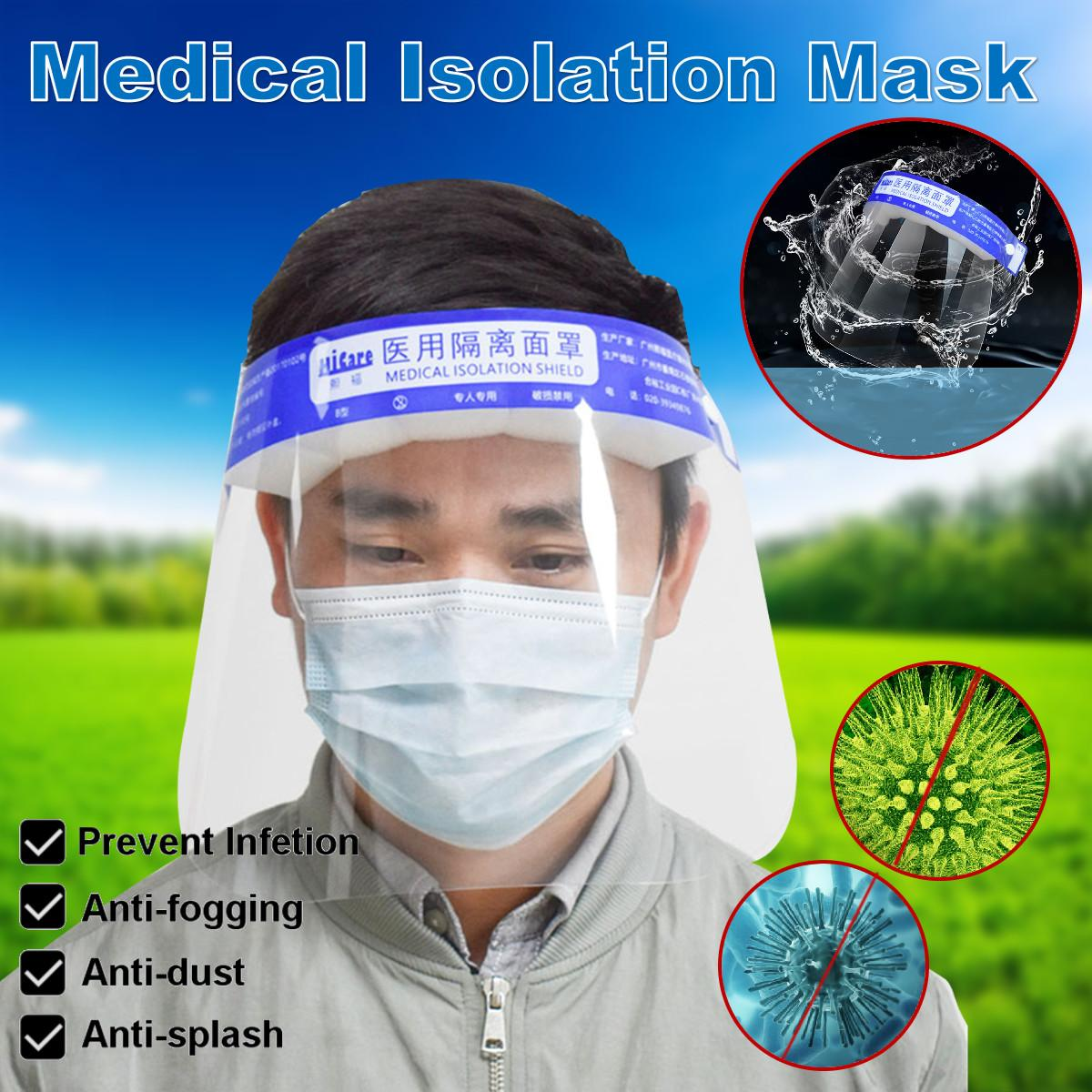 1/3/5Pcs/set Increased HD Protective Head-Mounted Isolation Mask Anti-Fog Dustproof Dental Protective Face Shield WIth Sponge