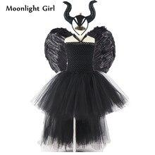 เด็ก Black Evil Maleficent Queen เครื่องแต่งกายหญิงชุด Tutu Feather Wing Horns ฮาโลวีนเครื่องแต่งกายชุดเสื้อผ้าหญิง MK054