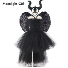 Dla dzieci czarny zło Maleficent królowa kostium dziewczyny Tutu sukienka skrzydła z piór rogi kostium na Halloween Party suknie dziewczyny ubrania MK054
