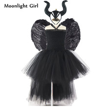 Kids Black Evil Maleficent Queen Costume Girls Tutu Dress Feather Wing Horns Halloween Costume Party Dresses Girls Clothes MK054
