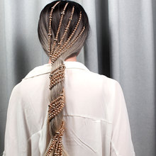 Модная Золотая жемчужная цепочка для волос хип-хоп заколка для волос украшение бар вечерние лента для волос для нанесения макияжа свадебные аксессуары для волос