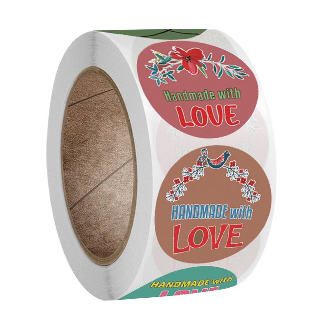 100-500pcs 1Inch DIY Hand Made With Love Label Wedding Stickers Adhesive Sticker Kraft Round Labels Wholesale price