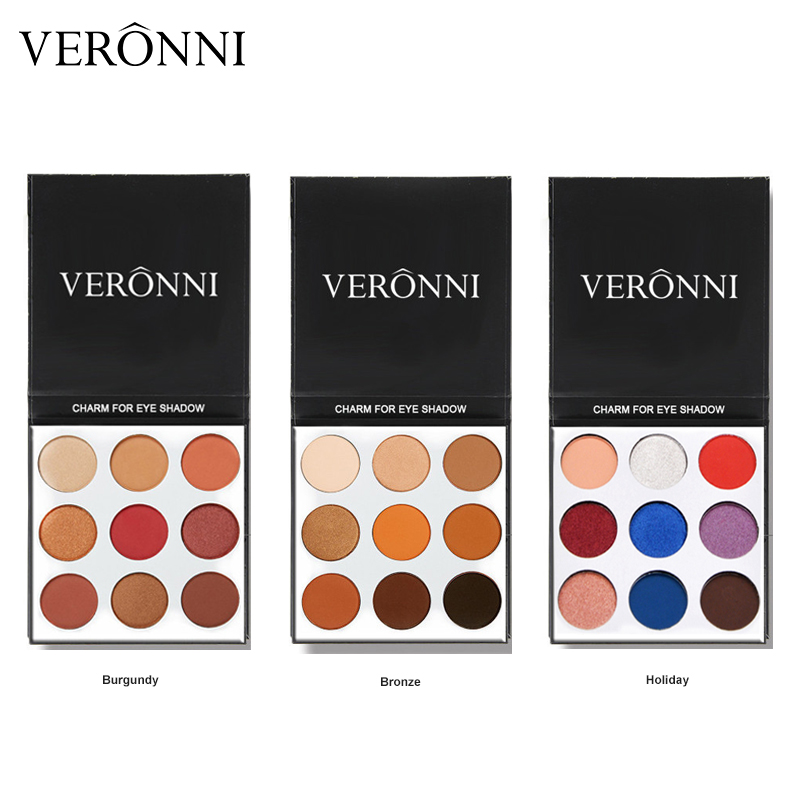 VERONNI 9Colors Nude Eyeshadow Makeup Matte Waterproof Professional Shimmer Eye shadow Make up Palette