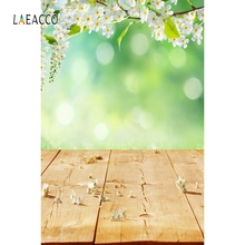 Laeacco Spring Blooming Flowers Trees Wooden Floor Photography Background Customized Photographic Backdrops For Photo Studio