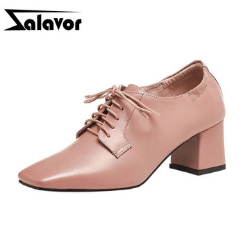 ZALAVOR Women Pumps Real Leather Lace Up Spring Simple Shoes Woman Casual Square Toe Daily Work Party Pumps Footwear Size 34-39