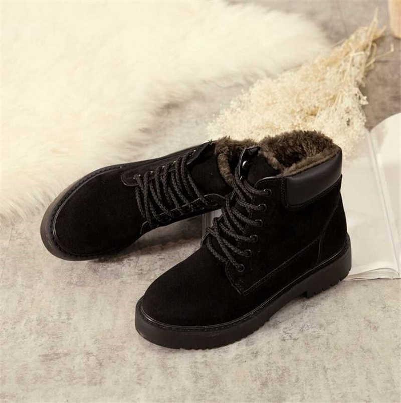 KARINLUNA yeni 35-41 INS sıcak sıcak kürk çizmeler bayan ayak bileği platformu ayak bileği kar botları kadın kış 2019 düşük tıknaz topuk ayakkabı kadın