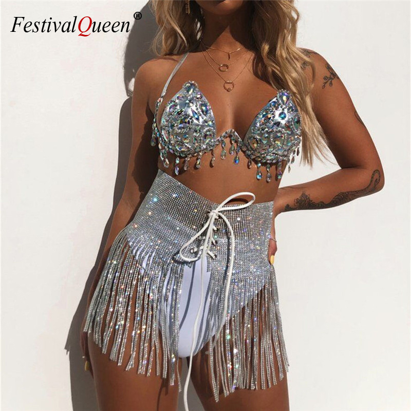 Shiny Gems Rhinestones 3 Piece Set Women Halter Fringes Bra Sexy Thong Panty Bandage Skirt Set Summer Beach Party Club Outfits