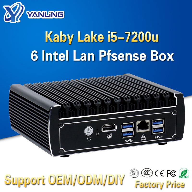 Yanling Newest Pfsense Box 7th Gen Kaby Lake Intel I5 7200u 2.5GHz Dual Core Fanless Case 6 Lan Mini Server Pc Support AES-NI