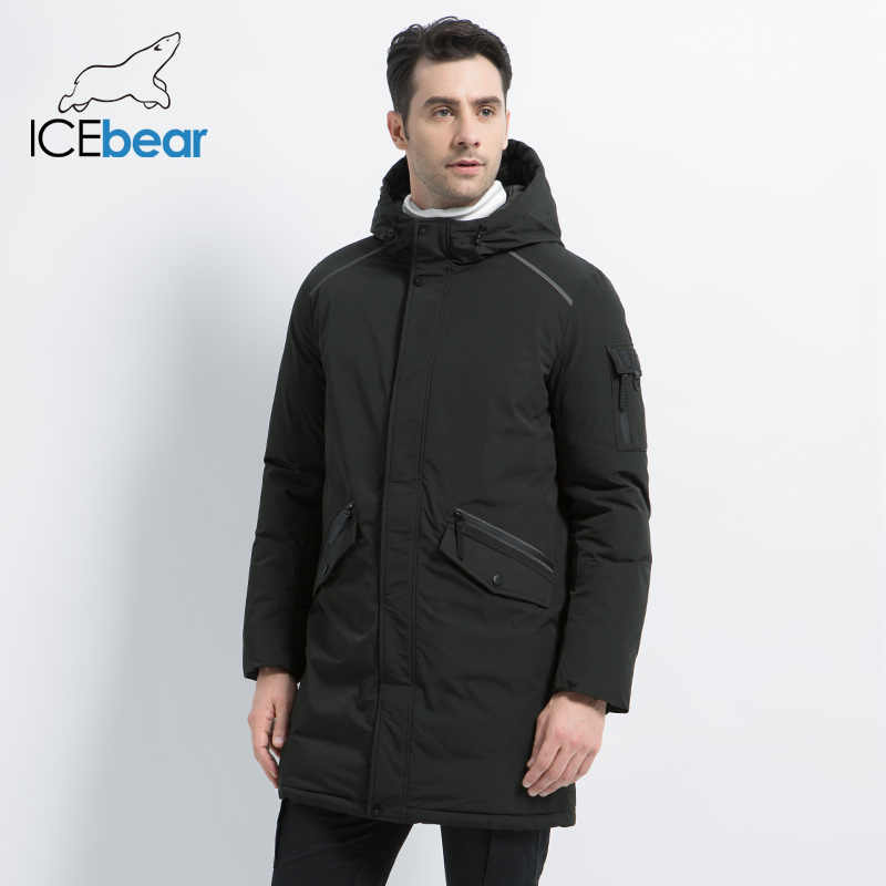 ICEbear 2019 new high quality winter coat simple casual coat design men's warm hooded brand fashion parkas jackets MWD18718D
