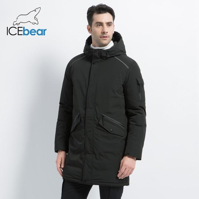 ICEbear 2019 yeni yüksek kalite kış ceket basit rahat ceket tasarım erkekler sıcak kapşonlu marka moda parkas ceketler MWD18718D