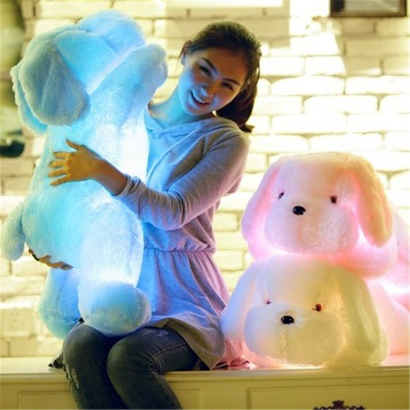 Luminous dog kawaii plush doll Soft Stuffed LED Glowing Colorful dog children luminous toy Christmas pillows gifts for girls kid image