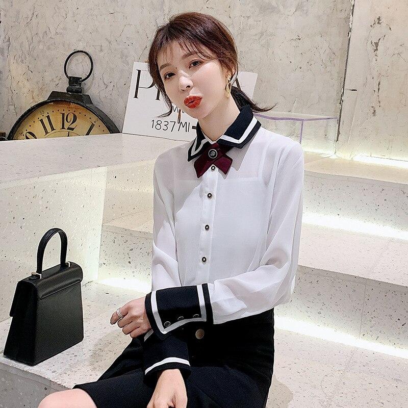 Séance Photo 2020 printemps nouveau Style INS Super feu à manches longues en mousseline de soie chemise style coréen sens de la conception couleurs mélangées chemise hauts