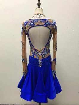 blue customize custom back cutout Rumba cha cha salsa tango Latin dance competition dress with beads