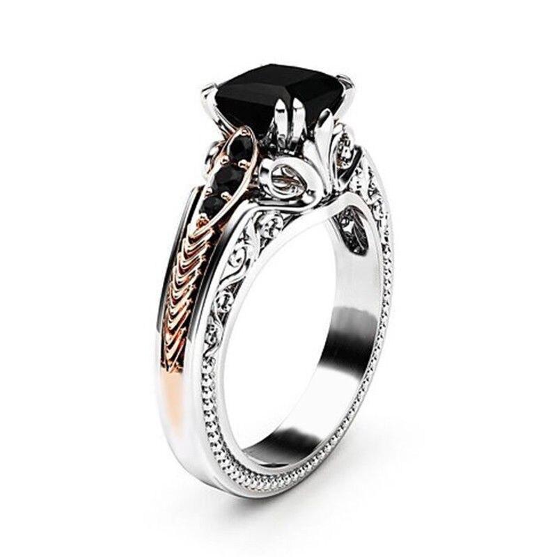 925 Silver Color 1 Carat Diamond Princess Ring For Women Anillos Bizuteria Obsidian Topaz Gemstone Silver Jewelry Obsidian Ring