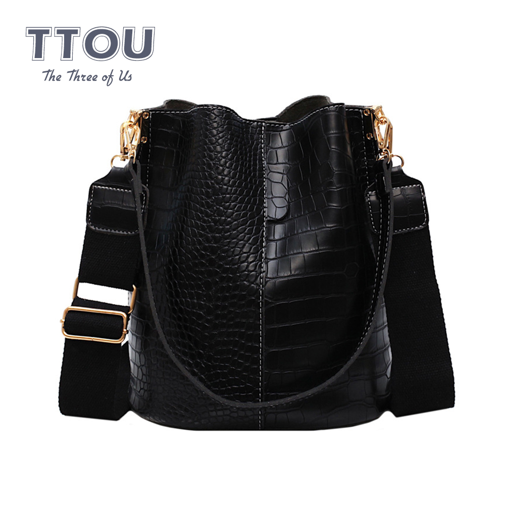 TTOU Women Bucket Bag Large Capacity Pu Leather Casual Buckle Purse Handbag Shoulder Crossbody Crocodile Retro Vintage Daypack