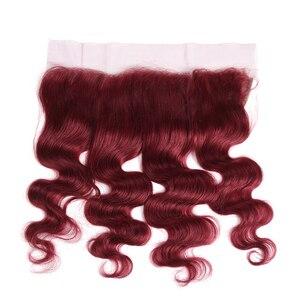Image 4 - 99J/בורגונדי שיער טבעי חבילות עם פרונטאלית X TRESS ברזילאי שאינו רמי גוף גל אדם צרור שיער שוזר עם תחרה פרונטאלית