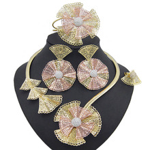 Yulaili Trendy Crystal Rhinestones Flower Shape Necklaces Pendant Earrings Bracelet Ring African Beads Women Dubai Jewelry Sets lace jacquard embellished bracelet with flower shape ring