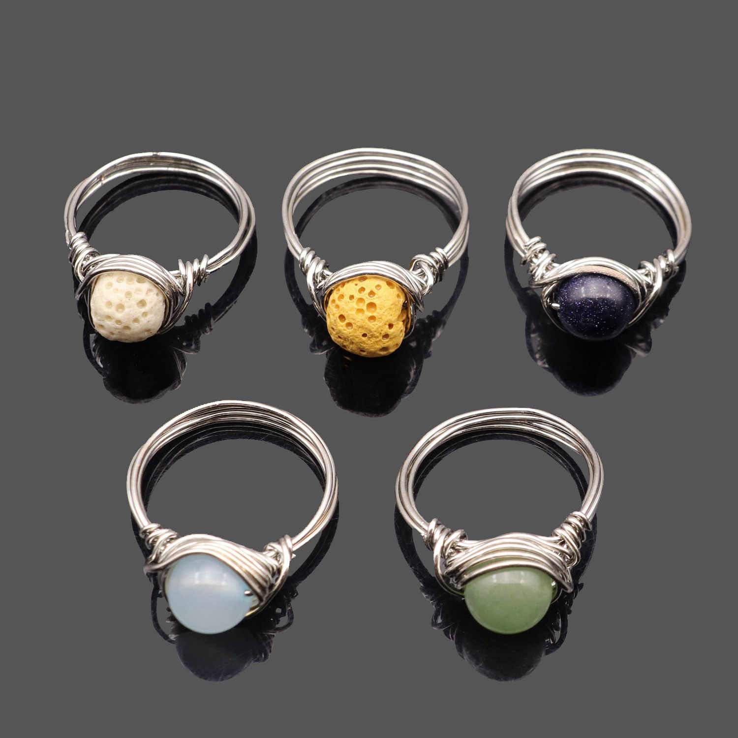 round crystal wire wrapped rings gold wire