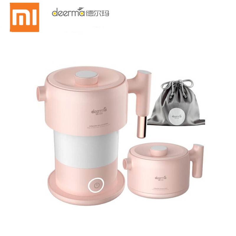 Xiaomi Deerma 0.6L Mini Folding Electric Kettle Auto Power-off Protection Water Boiler Teapot Instant Heating Stainless Steel