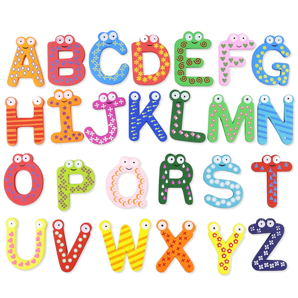 Wooden Numbers A-Z Letter Alphabet Magnet Educational Toy For Baby Kids Fridge Magnet Sticker Montessori Learning Toys Gadget(China)