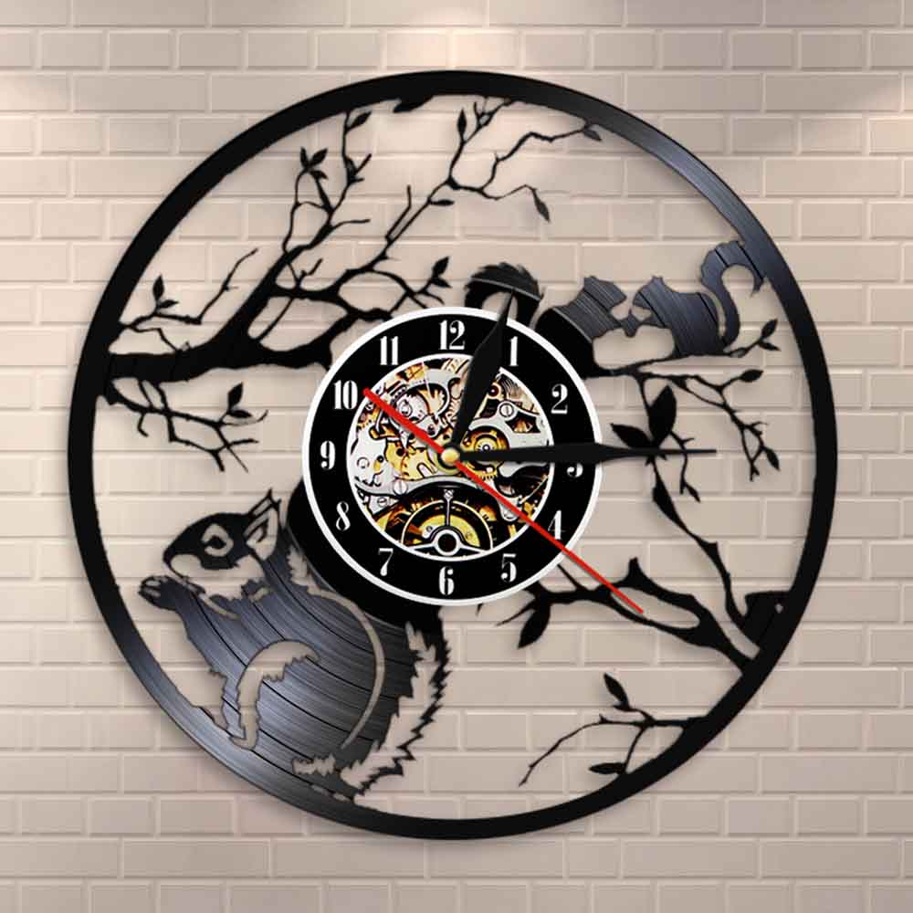 Squirrels In Love Wall Clock Modern Design Woodland Animals Home Decor Squirrels On A Tree Vintage Vinyl Record Wall Clock