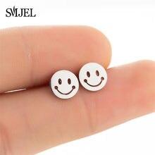Mode unisexe Smiley boucles d'oreilles pour hommes femmes 2020 Hip Hop acier inoxydable sourire déclaration oreille Piercing Punk bijoux boucles d'oreilles arete