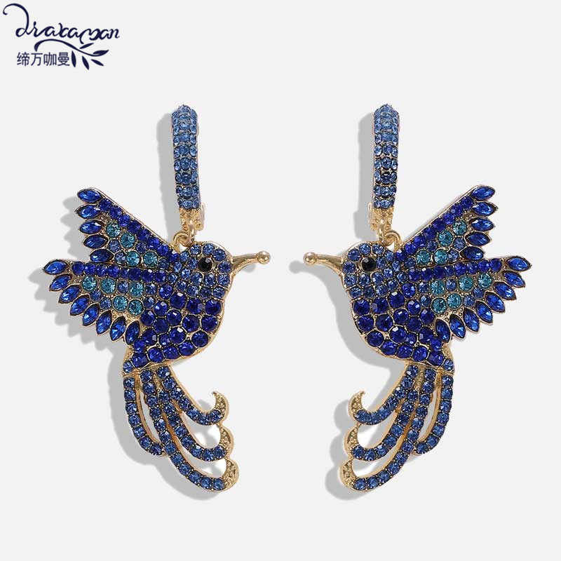 Asymmetric Gorgeous Colorful Phoenix Drop Earrings Women Wedding Party Jewelry