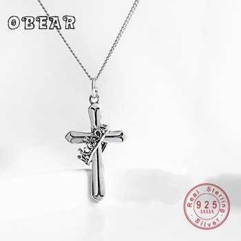 цена на OBEAR Sterling 925 Silver Crown Cross Necklace Silver Retro Old Cross crown Pendant Necklace for Women Jewelry Cross