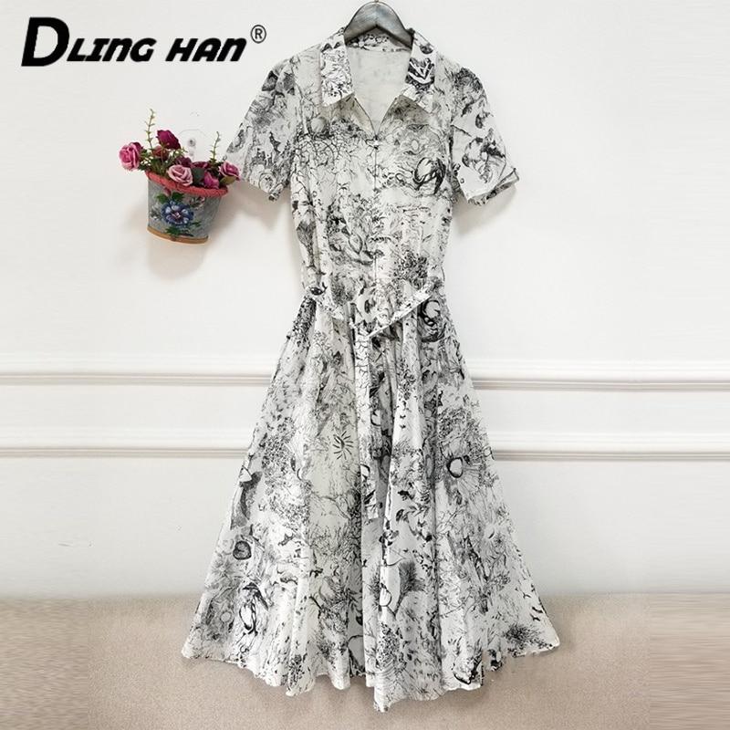 DLINGHAN Fashion Forest Totem Print Cotton Dress Women's Short Sleeve Sashes Midi Dresses Female Summer New