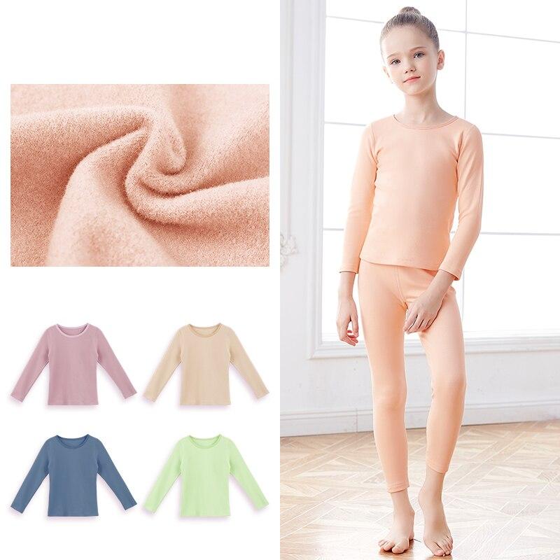 Girls Thermal Underwear Plus Velvet Thicken Winter Warm Self-heating Undewear Children Tracksuit Sets Dance Underwear Kids