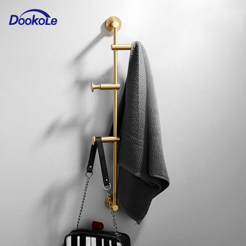 Solid Brass Coat Rack Free Adjustment, Wall Mount Coat Hooks With 3/4/5/6 Hooks For Hats, Scarves, Clothes Handbags