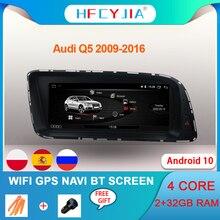 Android 10 del coche del sistema reproductor Multimedia para Audi Q5 2009 2016 2 + 32G RAM WIFI BT Google Pantalla táctil IPS GPS Navi Stereo AUX