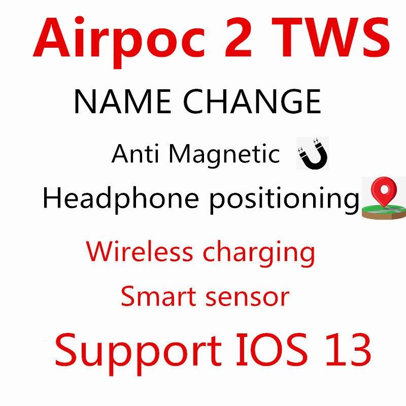 AirPoc2 Tws GPS renommer sans fil écouteur Bluetooth écouteurs contrôle tactile 8D Super basse PK i5000 i9000 i90000 Pro MAX TWS