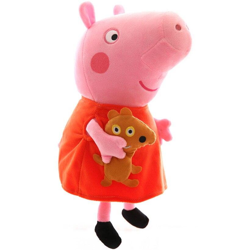 원래 30 CM Peppa 돼지 플러시 장난감 가족 팩 조지 아빠 엄마 인형 Pelucia 어린이 생일 선물